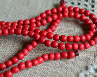 133pcs Red Wood Natural Beads 6mm Round Macrame Bead