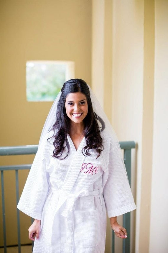 Bride Robe Personalized With Embroidered Name Front And Back