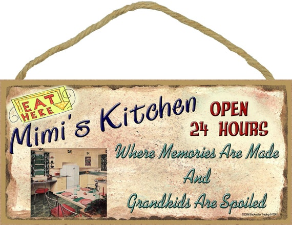 "MIMI'S Kitchen Where Memories are Made and Grandkids Are Spoiled Grandparent 5"" x 10"" SIGN Wall Plaque"