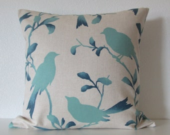 Ombre blue aqua bird throw pillow cover