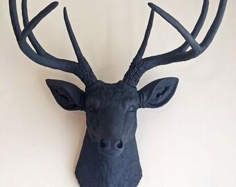 Charcoal Grey Deer Head Wall Mount Faux Taxidermy