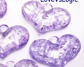 6 Puff Heart Acrylic Charms. Frozen Light Purple.