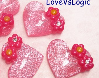 4 Glitter Puff Heart with Flower Lucite Cabochon. Pink Tone