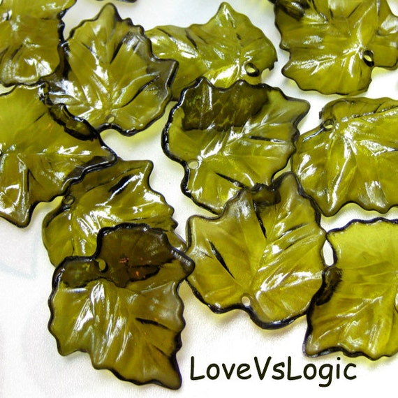 Wholesale. 240 Acrylic Leaf Beads Charms. Icy Olive Green Tone