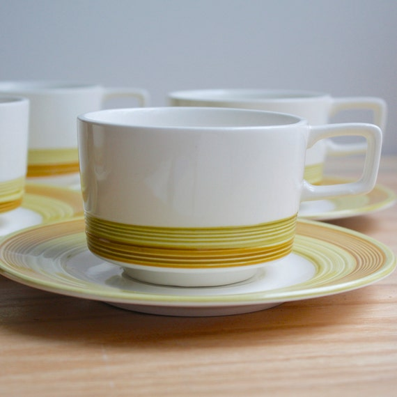 Vintage Mid Century Cup and Saucer Set of Six by Imperial Stone China - Buttercup Pattern