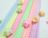 Rainbow Stars - Glow in the Dark Vellum Origami Lucky Star Paper Strips - complete set of 6 for the price of 5