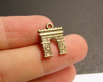 24 Arc de Triumph charms - 24 pcs - antique bronze brass Arc de Triomphe charms  -   BAZ71