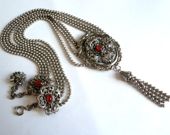 1970s Lariat Swag Necklace... Silver & Red