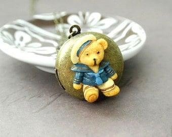 Teddy Bear Necklace,Teddy Bear Locket Jewelry,Memory Locket,Locket Charm,Locket Pendant,Bear Photo Locket,Picture Locket,Round Locket