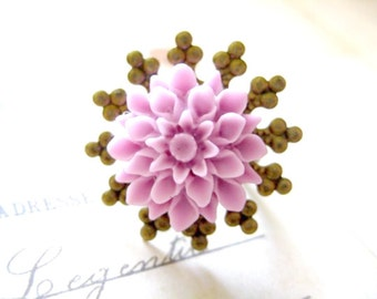 Flower Ring - Light Purple Chrysanthemum Adjustable Ring