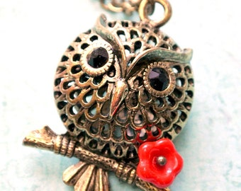 Owl Necklace,Owl with Red Flower Necklace, Woodland Animals Jewelry