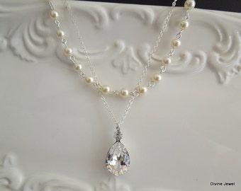 pearl necklace, bridal pearl necklace, Wedding Rhinestone necklace, swarovski crystal and pearl necklace, Statement Bridal necklace, ARIA