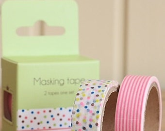 Tape-Washi Tape-Masking Tape-Pink Flowers-Gift Wrapping-Packing Tape-2 roll set