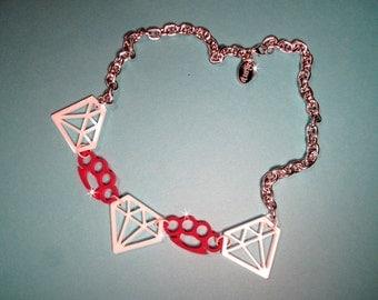 DAMES & DIAMONDS-Bright Red Knucks and White Diamonds Laser Cut Acrylic pendant necklace