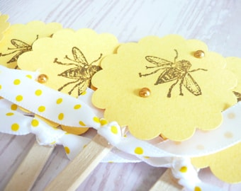Hand-Stamped Bee Cupcake Toppers-5 pc.
