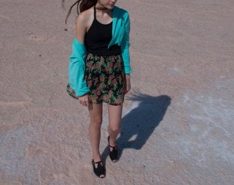 floral chiffon pleated Skirt NOS Vintage size S
