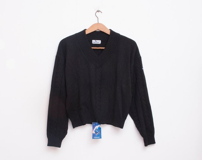 crop sweater 90s NOS vintage black nautical