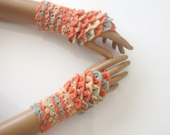 New Crocodile Stitch Gauntlets-Fingerless Gloves