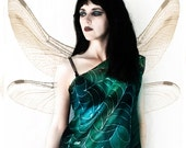 Gothic fairy silk blouse - green tank top - art nouveau