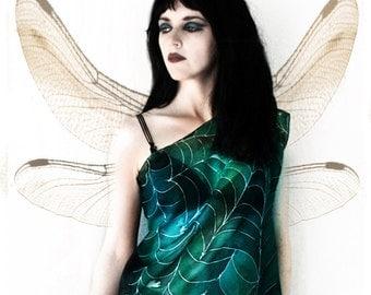 Gothic fairy silk blouse - green tank top - art nouveau