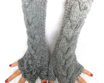 Fingerless Gloves Grey Shades Cabled Warm Arm Warmers Extra Long