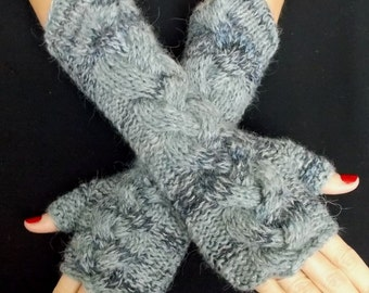 Handknitted Fingerless Gloves Grey Black Arm Warmers Cabled Handmade Warm