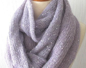 Circle Scarf  Cowl In Light Violet Lilac with Lurex Metallic Thread for Women SALE