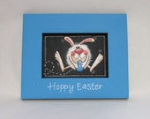 Hoppy Easter Sign, Bunny, Framed in Blue or Green, Hand Painted, Wall Hanging