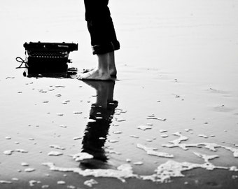 Typing on Jetsam - A Girl and Her Typewriter - 8x10 Inch Fine Art Photograph
