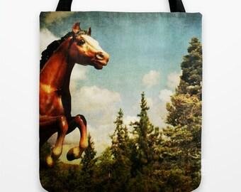 Equestrian Tote Bag - book bag, grocery bag, market bag, gift bag, horse, forest, accessories, woodland, fabric bag, purse, photo bag
