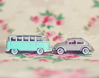 Modern Wall Art - VW Love - Fine Art Photography volkswagon vdub aqua pink green cream toy car photography