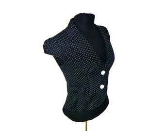 VIntage Bolero Blouse Polka-Dot Sleeveless with Rounded Shouders and Lapels Size Medium by Styles