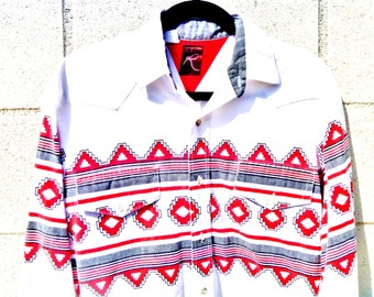 Vintage 90's Roper Western Button Down Shirt with Navajo Geometrical Print Men's Medium