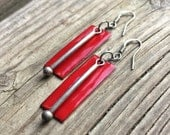 Red Earrings / Red Jewelry / Red and Silver Earrings / Handmade Red Earrings / E060