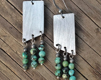 Turquoise Jewelry / Turquoise Earrings / Geometric Jewelry