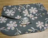 Clutch Bag / Dots and Daisies/ Grey, White, Yellow, Red / Clutch with Handle