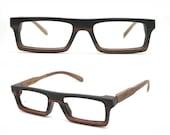 very square Ebony Never Handmade Wooden Takemoto Brown prescription  RX Sunglasses