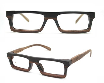 very square Ebony Never Handmade Wooden Takemoto Brown prescription  RX Sunglasses