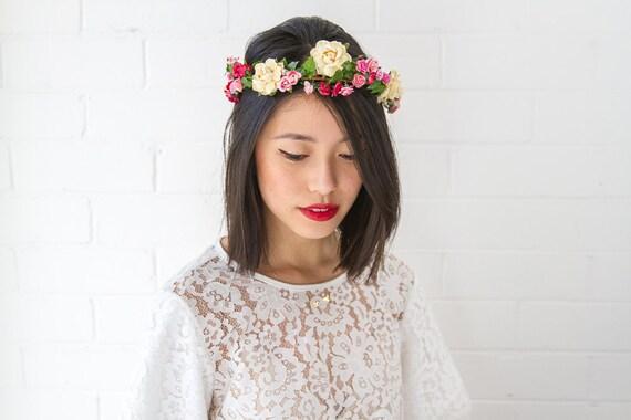 red pink yellow rose hair wreath // woodland, dainty flower crown headpiece, headband, hair crown - 'Zuzana'
