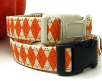 Autumn Argyle Dog Collar in Orange and Cream