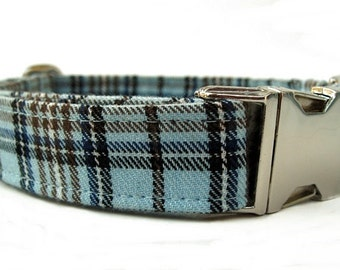 Light Blue Plaid Dog Collar with Nickel Plate Hardware