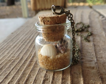 Beach in a Bottle Apothecary Jar Necklace with Seashells