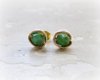 Tiny Turquoise Stud Earrings, Southwestern Post Earrings, Wire Wrap Earrings, Gold Filled Studs, Green Turquoise Studs,Faceted Post Earrings