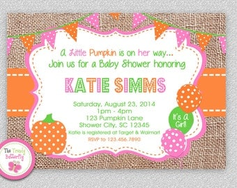 Pumpkin Baby Shower invitation , Pumpkin Baby Shower Invitation , Baby Shower Invitation, Printed or Printable Invitations