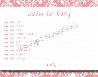 PRINTABLE Wishes for Baby Cards - Unique Baby Shower Activity Game or Memory Book Idea - Salmon Pink