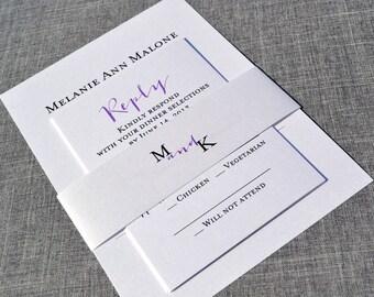 Purple Green Calligraphy - Modern Casual Wedding Invitation Sample
