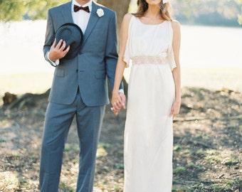FREE SHIP Size 0 Organic Lace Wedding Dress Silk Wedding Dress Boho Beach Wedding Dress Wedding Alternative Eco Hemp Silk Cotton Lace