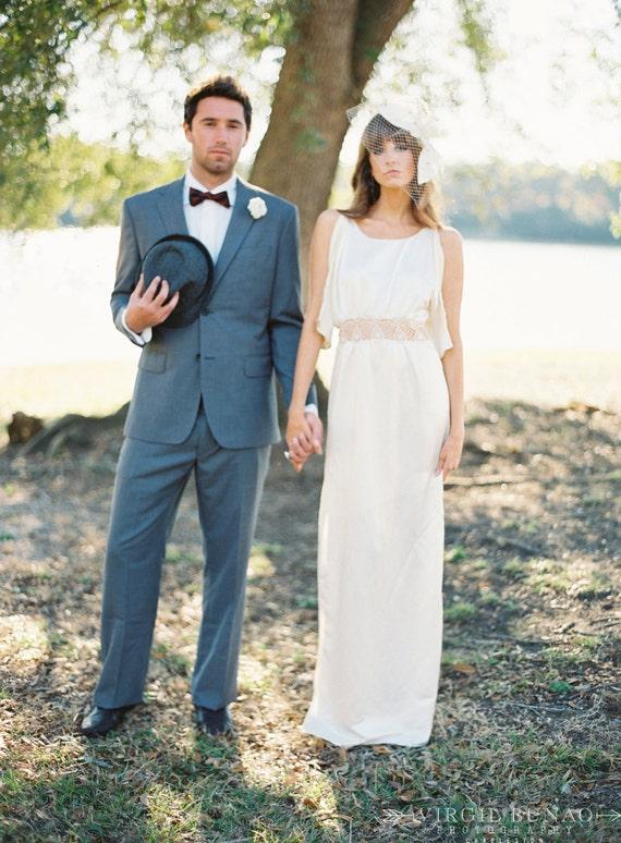 Organic Lace Wedding Dress Silk Wedding Dress Beach Wedding