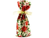 ON SALE -- Christmas Wine Bag or Small Gift Bag with Poinsettias, Holly & Gold Accents