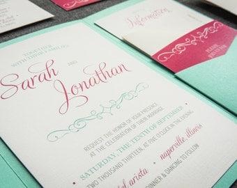 "Pink and Mint Invitations, Aqua Pocketfold Invitations with Raffia, Bat Mitzvah Invitations, Birthday Party - ""Enchanting Vintage"" PF-NL-v1"